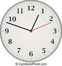 An illustration of a analogue grey clock