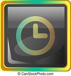 Clock grey square vector icon illustration with yellow and green details on white background