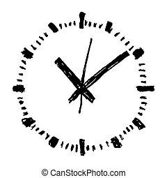 Clock hand drawn vector icon