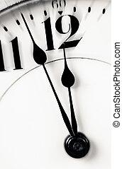 Clock hands almost twelve zoom in - Antique clock closeup ...