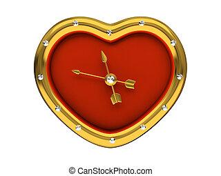 clock-heart, elszigetelt, háttér, fehér, piros, 3