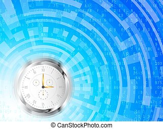 Clock High Tech Background - Clock with roman numerals on...