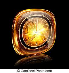 Clock icon amber, isolated on black background