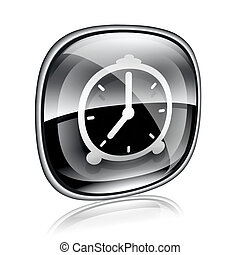 Clock icon black glass, isolated on white background