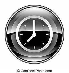 clock icon black, isolated on white background.
