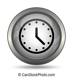 Clock icon, black website button on white background.