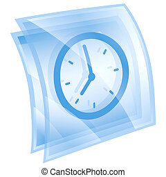 Clock icon blue, isolated on white background.