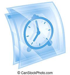 Clock icon blue, isolated on white background.
