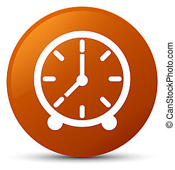 Clock icon brown round button