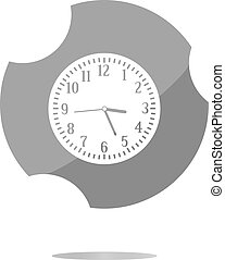 Clock icon button . Flat sign isolated on white background