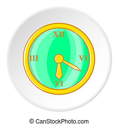 Clock icon, cartoon style