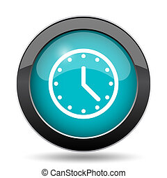 Clock icon. Clock website button on white background.