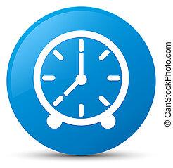 Clock icon cyan blue round button