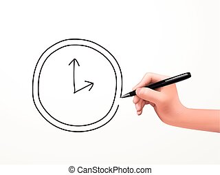 clock icon drawn by human hand