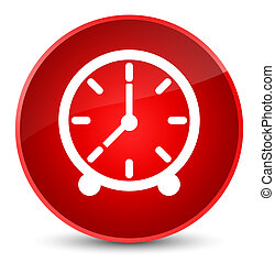 Clock icon elegant red round button