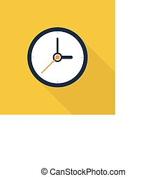 Clock icon , Flat design style, vector illustration. long shadow icon.