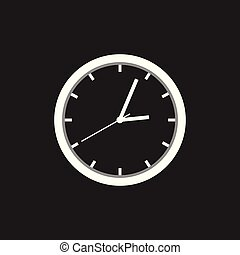 Clock icon, flat design. Vector illustration on black background