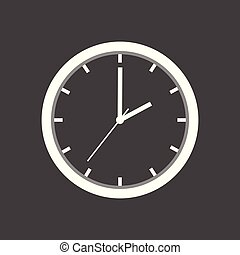 Clock icon, flat design. Vector illustration on grey background