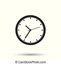 Clock icon, flat design. Vector illustration on white background