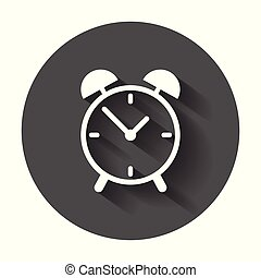 Clock icon, flat design. Vector illustration with long shadow.