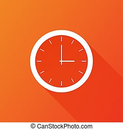 Clock icon, flat design. Vector illustration with long shadow on orange background