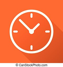 Clock icon, flat design. Vector illustration with long shadow on orange background.