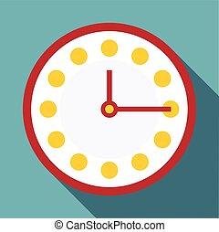 Clock icon, flat style