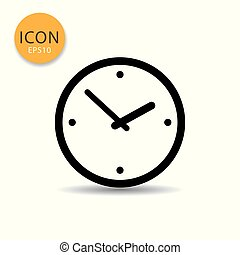 Clock icon flat style.