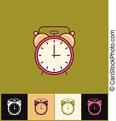 Clock icon. Flat vector illustration on different colored backgrounds. Pink simple clock with bell