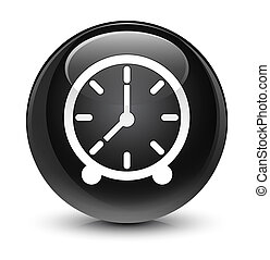 Clock icon glassy black round button