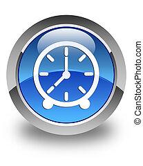 Clock icon glossy blue round button