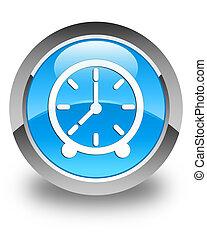 Clock icon glossy cyan blue round button