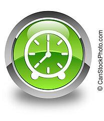 Clock icon glossy green round button