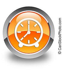 Clock icon glossy orange round button