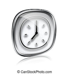clock icon grey glass, isolated on white background