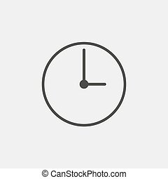 Clock icon in black color. Vector illustration eps10