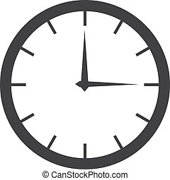 Clock icon in black on a white background. Vector illustration