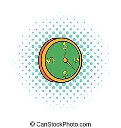 Clock icon in comics style