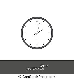 Clock icon in flat style isolated on white background.