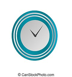 Clock icon in silver and blue style, timer on isolated background. Vector design element