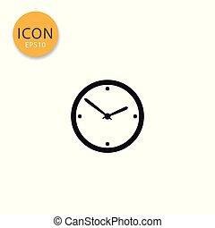 Clock icon isolated flat style.