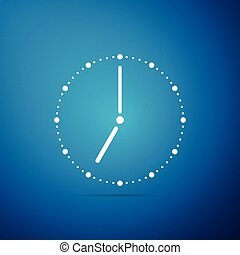 Clock icon isolated on blue background. Flat design. Vector Illustration