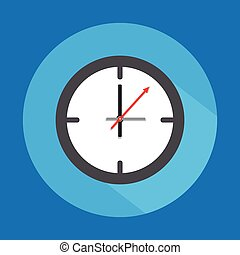 Clock icon  isolated on blue background.