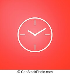 Clock icon isolated on red background. Flat design. Vector Illustration