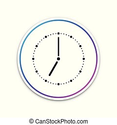 Clock icon isolated on white background. Circle white button. Vector Illustration