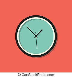 Clock icon long shadow illustration on a green background