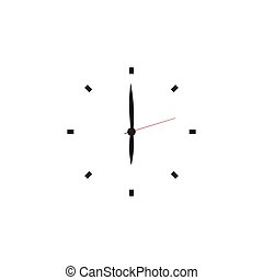 Clock icon minimalistic in flat style. Timer on white...