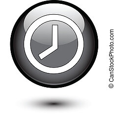 Clock icon on black glossy button