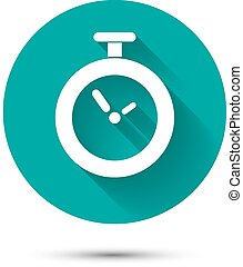 Clock icon on green background with long shadow