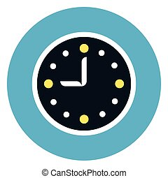 Clock Icon On Round Blue Background Flat Vector Illustration